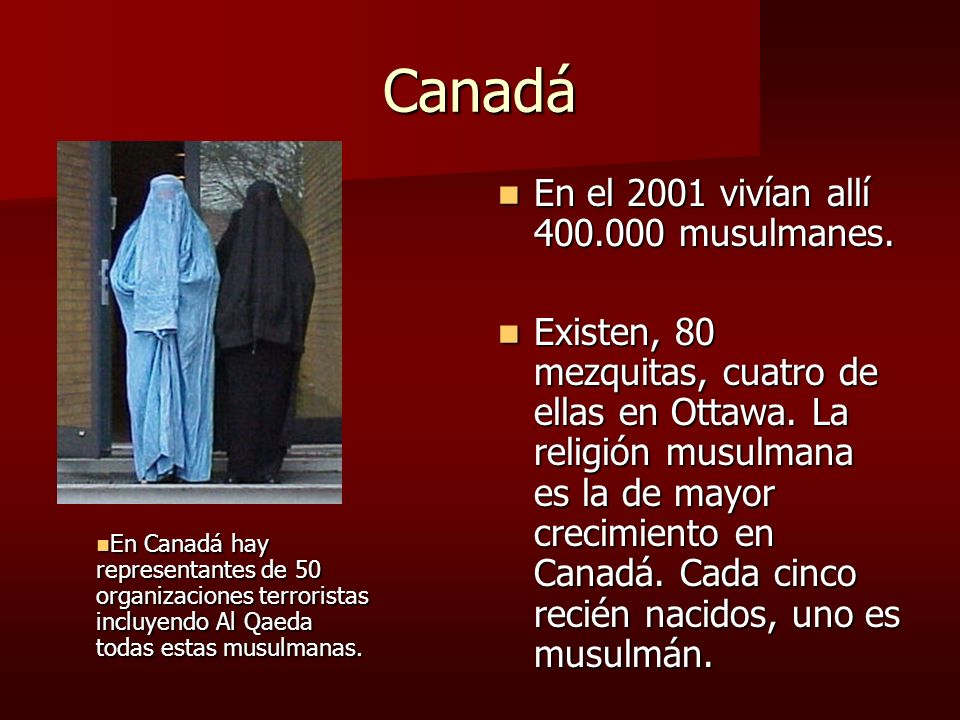 Canadá En el 2001 vivían allí 400.000 musulmanes. En el 2001 vivían allí 400.000 musulmanes. Existen, 80 mezquitas, cuatro de ellas en Ottawa. La reli