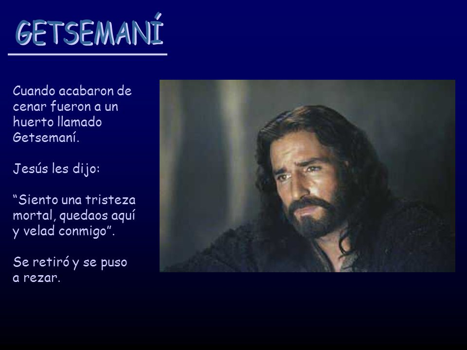 Cuando acabaron de cenar fueron a un huerto llamado Getsemaní. Jesús les dijo: Siento una tristeza mortal, quedaos aquí y velad conmigo. Se retiró y s