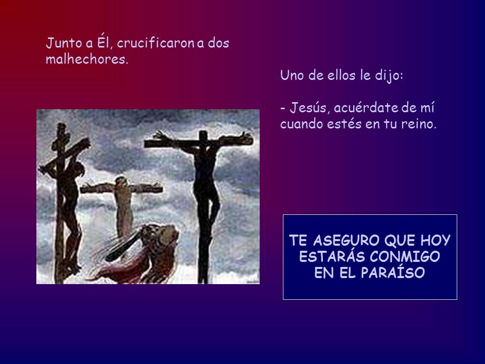 Junto a Él, crucificaron a dos malhechores. Uno de ellos le dijo: - Jesús, acuérdate de mí cuando estés en tu reino. TE ASEGURO QUE HOY ESTARÁS CONMIG