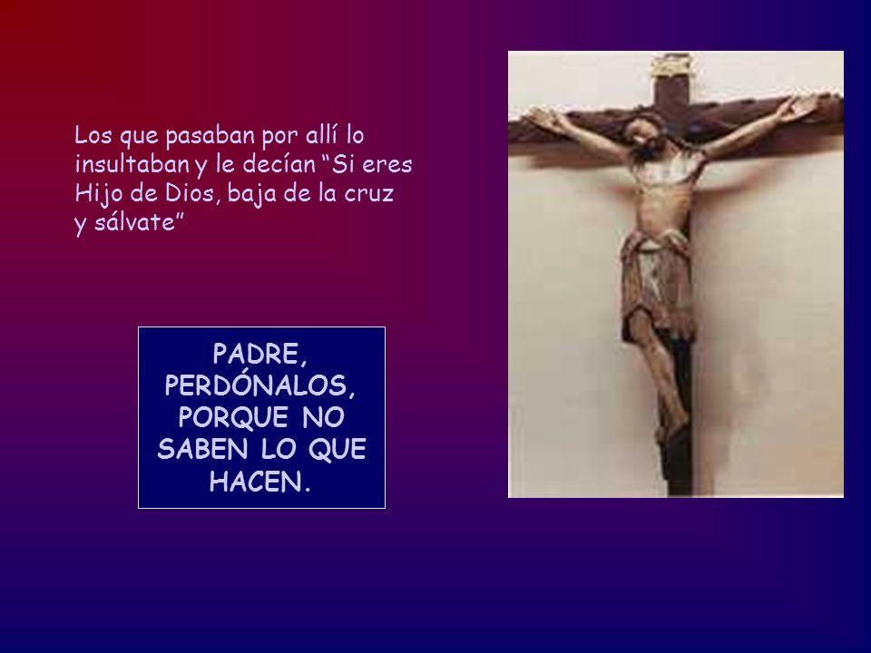 Los que pasaban por allí lo insultaban y le decían Si eres Hijo de Dios, baja de la cruz y sálvate PADRE, PERDÓNALOS, PORQUE NO SABEN LO QUE HACEN.