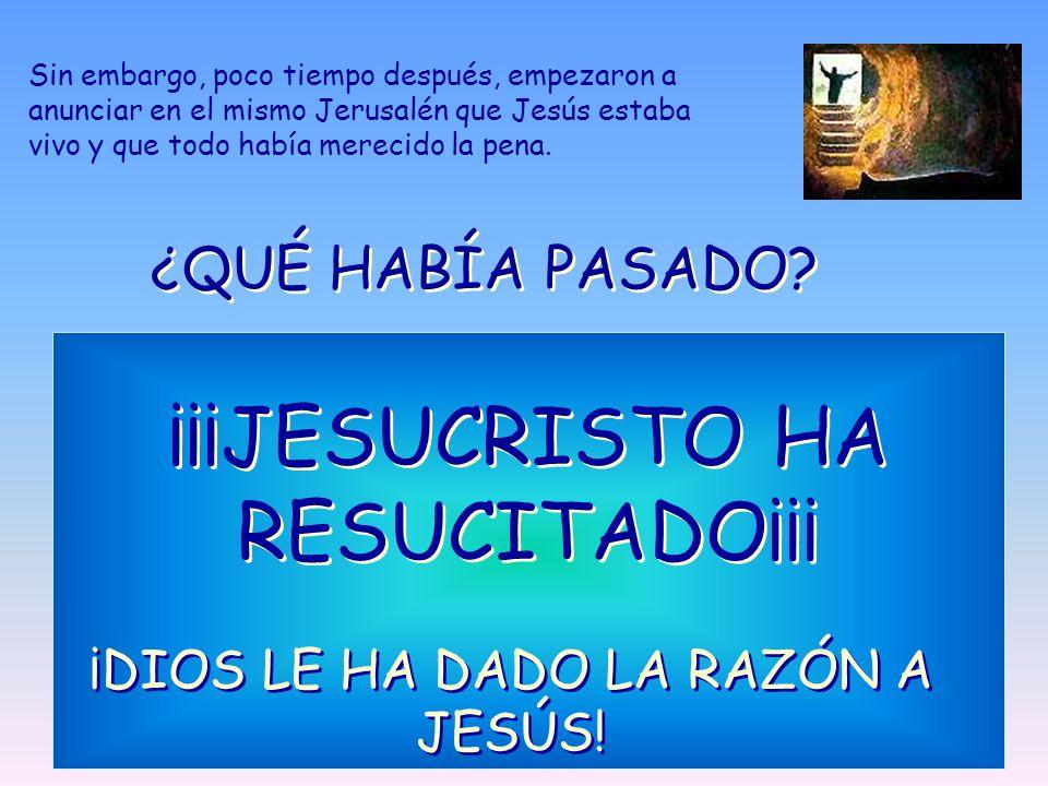 Sin embargo, poco tiempo después, empezaron a anunciar en el mismo Jerusalén que Jesús estaba vivo y que todo había merecido la pena. ¿QUÉ HABÍA PASAD