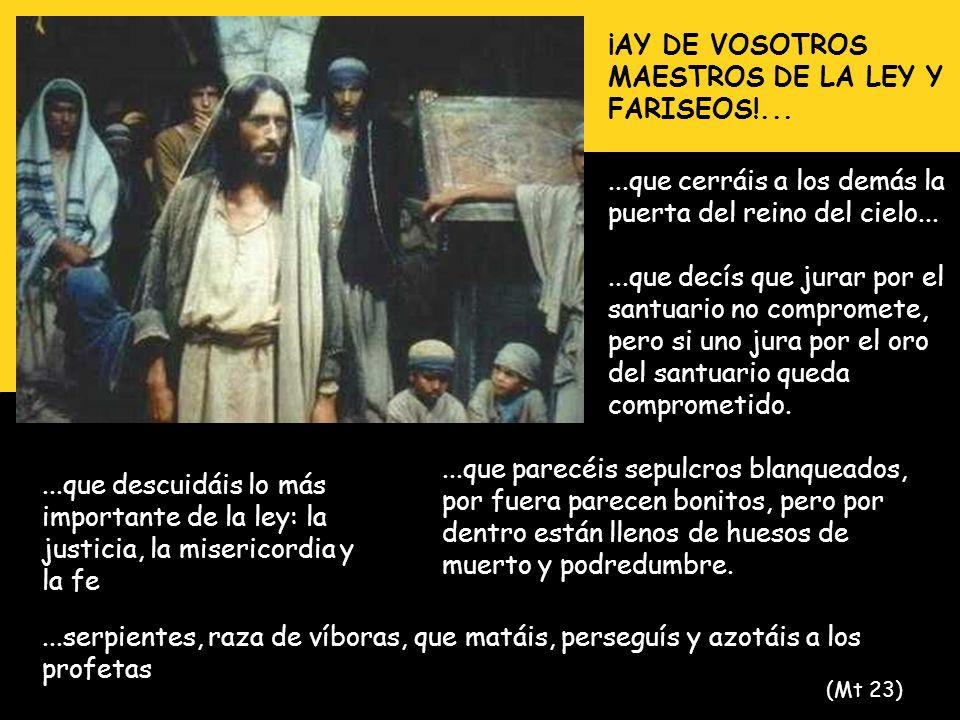 ¡AY DE VOSOTROS MAESTROS DE LA LEY Y FARISEOS!......que cerráis a los demás la puerta del reino del cielo......que decís que jurar por el santuario no