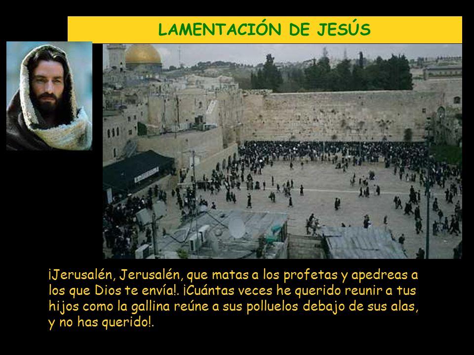 LAMENTACIÓN DE JESÚS ¡Jerusalén, Jerusalén, que matas a los profetas y apedreas a los que Dios te envía!. ¡Cuántas veces he querido reunir a tus hijos