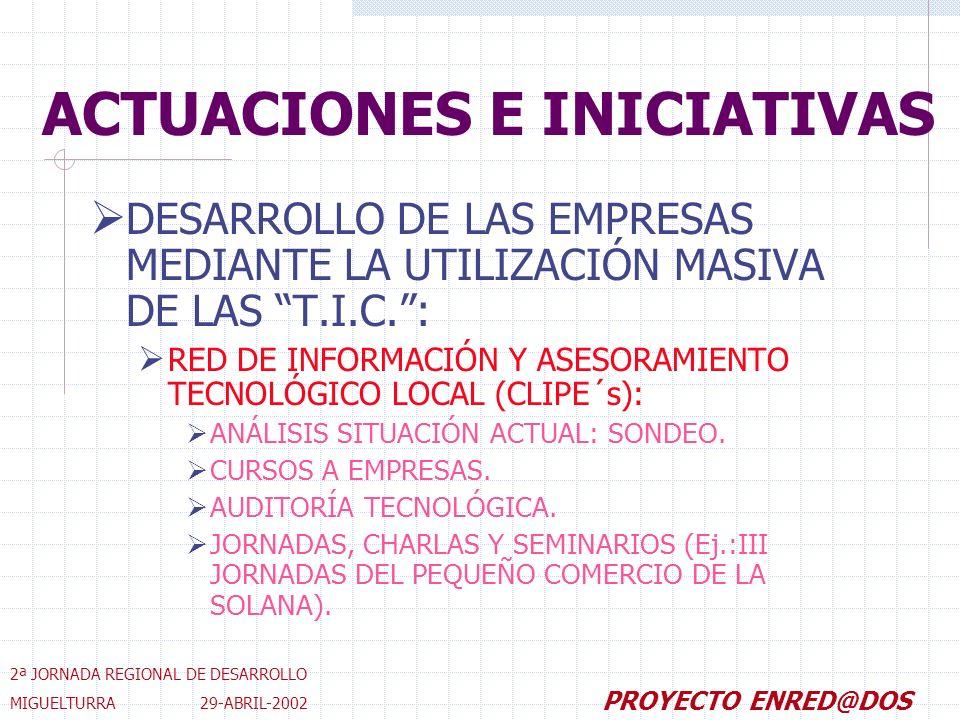 DESARROLLO DE LAS EMPRESAS MEDIANTE LA UTILIZACIÓN MASIVA DE LAS T.I.C.: RED DE INFORMACIÓN Y ASESORAMIENTO TECNOLÓGICO LOCAL (CLIPE´s): ANÁLISIS SITUACIÓN ACTUAL: SONDEO.