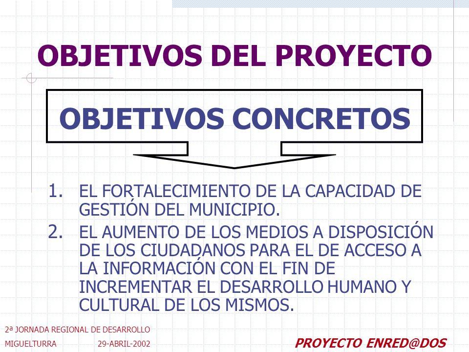 OBJETIVOS DEL PROYECTO 1. EL FORTALECIMIENTO DE LA CAPACIDAD DE GESTIÓN DEL MUNICIPIO.