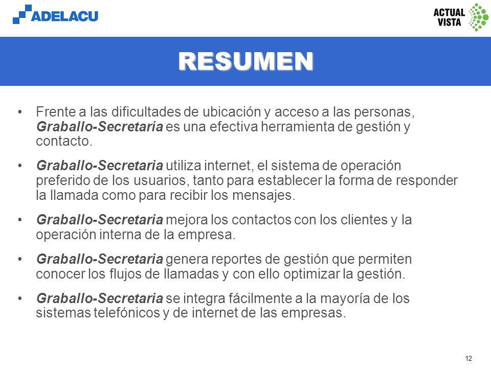 www.adelacu.com 11 REPORTES DE GESTIÓN Registro instantáneo y acceso web interno (intranet) de todos los reportes. Listado de todas las llamadas recib
