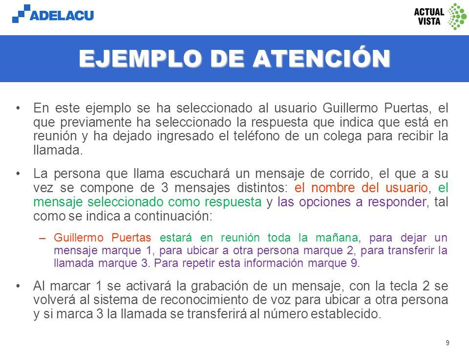 www.adelacu.com 8 EJEMPLO DE RECONOCIMIENTO En Chile la transferencia automática por reconocimiento de voz opera actualmente en 2 empresas: 3M de Chile y Canal 13 Televisión.