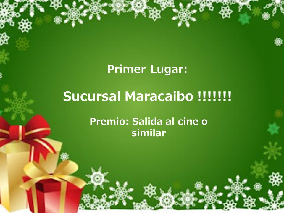 Primer Lugar: Sucursal Maracaibo !!!!!!! Premio: Salida al cine o similar