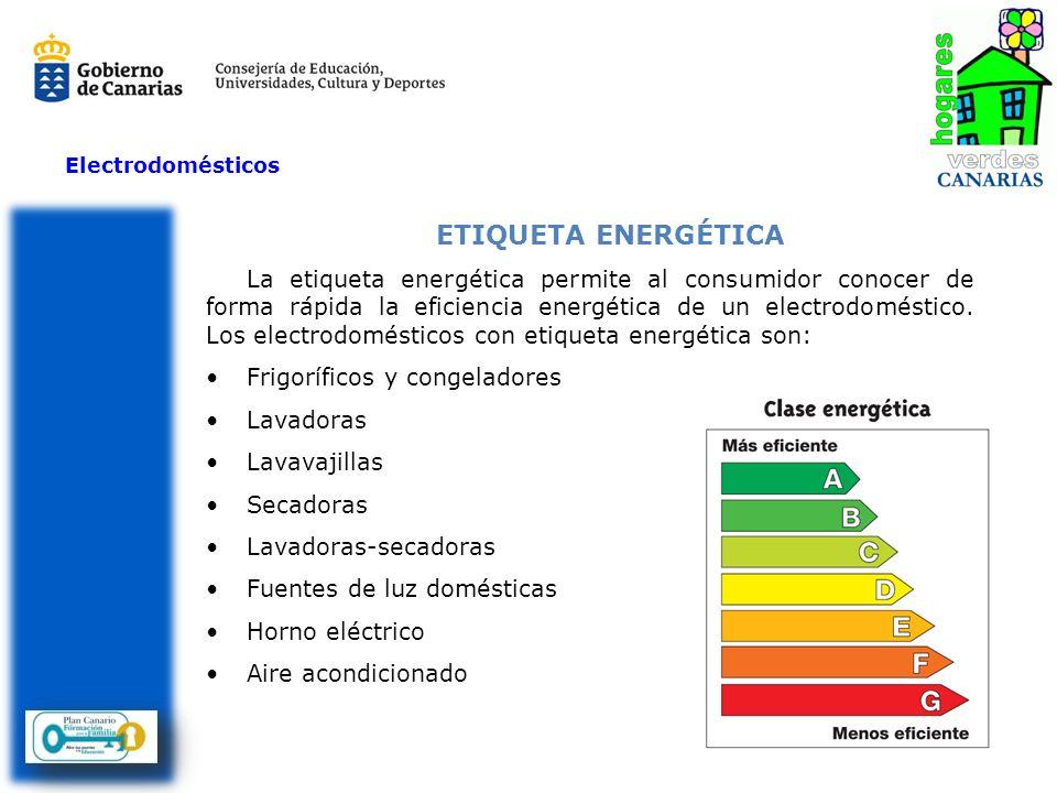 Electrodomésticos ETIQUETA ENERGÉTICA La etiqueta energética permite al consumidor conocer de forma rápida la eficiencia energética de un electrodomés