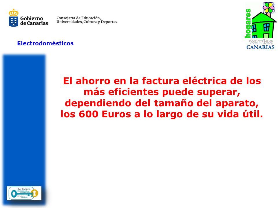 El ahorro en la factura eléctrica de los más eficientes puede superar, dependiendo del tamaño del aparato, los 600 Euros a lo largo de su vida útil. E