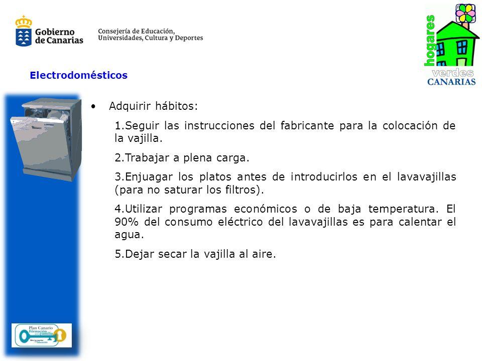 Adquirir hábitos: 1.Seguir las instrucciones del fabricante para la colocación de la vajilla. 2.Trabajar a plena carga. 3.Enjuagar los platos antes de