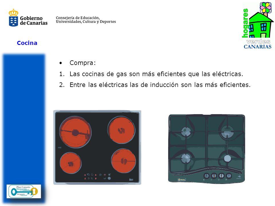 Cocina Compra: 1.Las cocinas de gas son más eficientes que las eléctricas. 2.Entre las eléctricas las de inducción son las más eficientes.