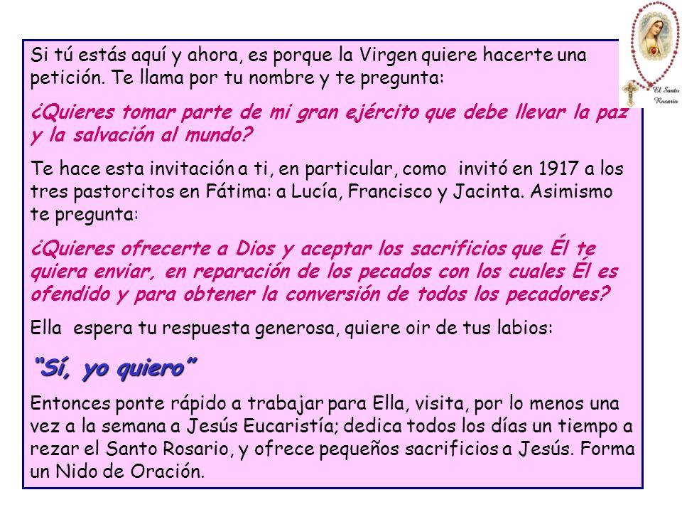 Dios mandó a la Santísima Virgen a Fátima, para que les pidiera a tres niños que le ayudaran a resolver el gran problema de la paz del mundo y la salv