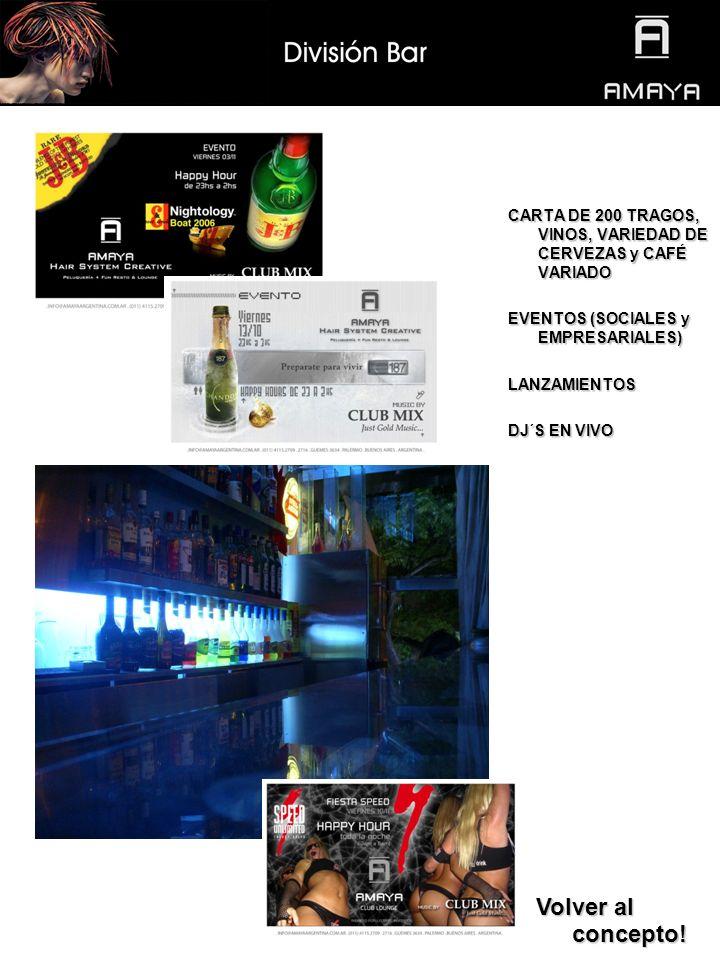 CARTA DE 200 TRAGOS, VINOS, VARIEDAD DE CERVEZAS y CAFÉ VARIADO EVENTOS (SOCIALES y EMPRESARIALES) LANZAMIENTOS DJ´S EN VIVO Volver al concepto.