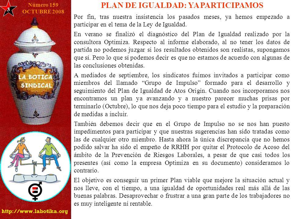 3 PLAN DE IGUALDAD: YA PARTICIPAMOS Número 159 OCTUBRE 2008 Por fin, tras nuestra insistencia los pasados meses, ya hemos empezado a participar en el
