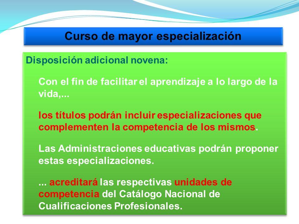 Curso de mayor especialización Disposición adicional novena: Con el fin de facilitar el aprendizaje a lo largo de la vida,...