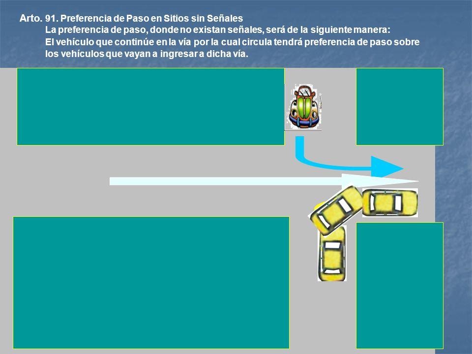 ALTO Arto. 90. Preferencia de Paso. En las Intersecciones, la preferencia de paso se ejecutará En las Intersecciones, la preferencia de paso se ejecut