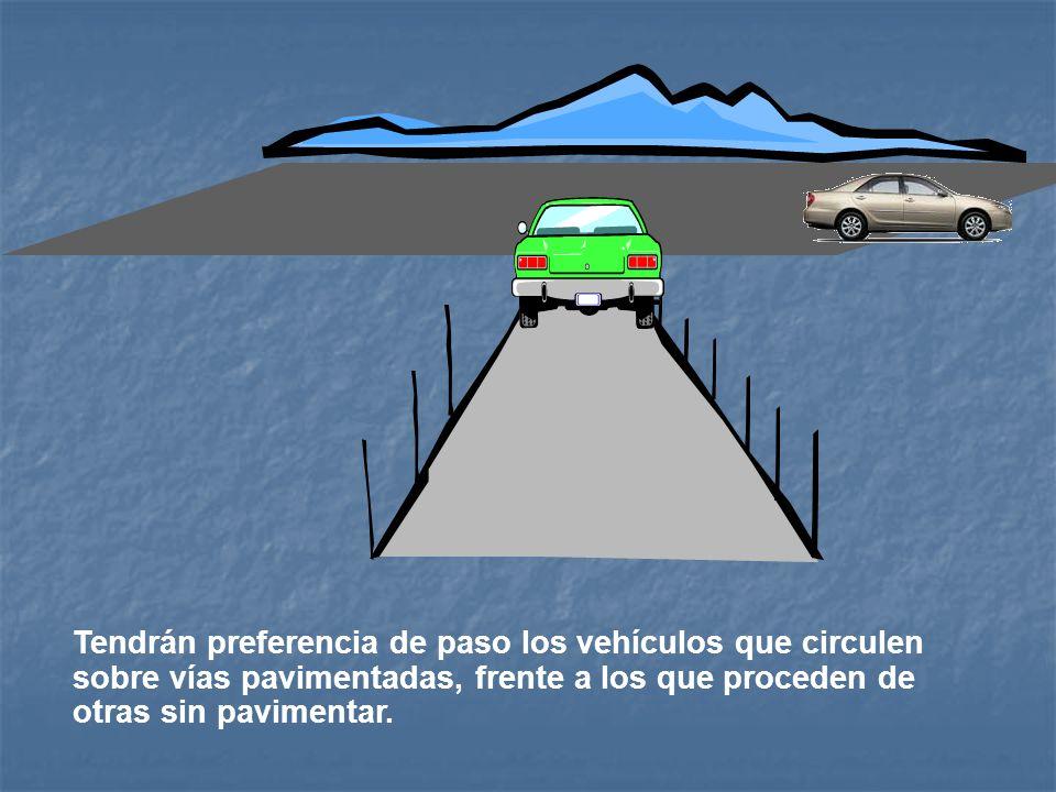 Arto. 91. Preferencia de Paso en Sitios sin Señales La preferencia de paso, donde no existan señales, será de la siguiente manera: El vehículo que con