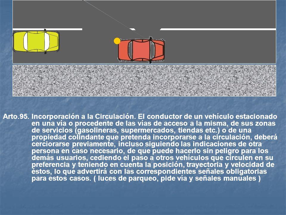 Arto.94. Obstrucción de Paso. Aún cuando goce de prioridad de paso, ningún conductor deberá penetrar con su vehículo en la intersección que cuente o n