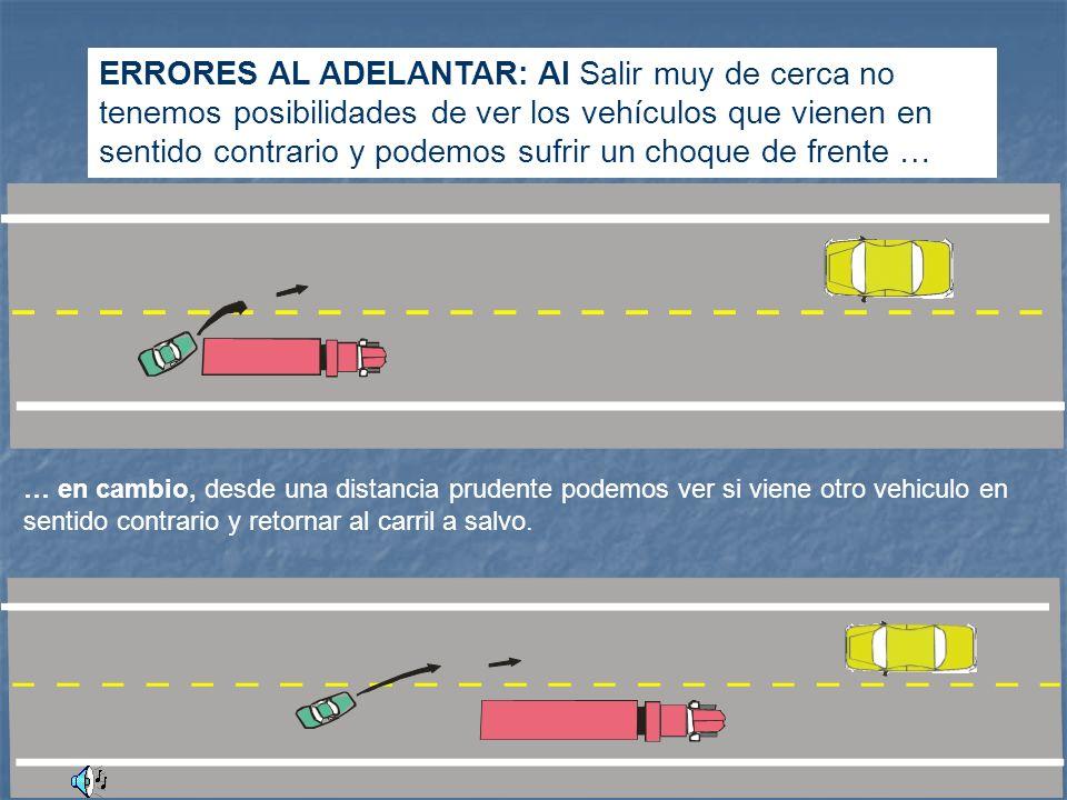 Para realizar la maniobra de adelantar El conductor debe preguntarse lo siguiente: Es necesario adelantar? Me lo permite la señal y la ley? Tiene pote