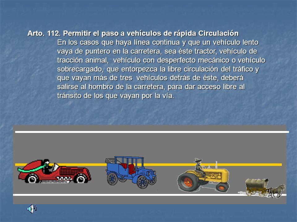 Arto.111. Tiempo de Descanso y Conducción. Los conductores de vehículo automotor, en especial los que por exigencias del tipo de servicio de transport