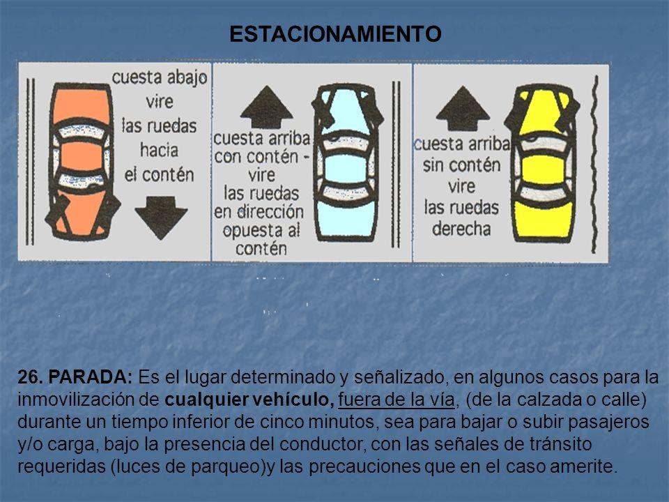 Arto. 135. Estacionamiento de los Vehículos. El estacionamiento de los vehículos automotor debe de realizarse siempre fuera de la calzada, por el lado