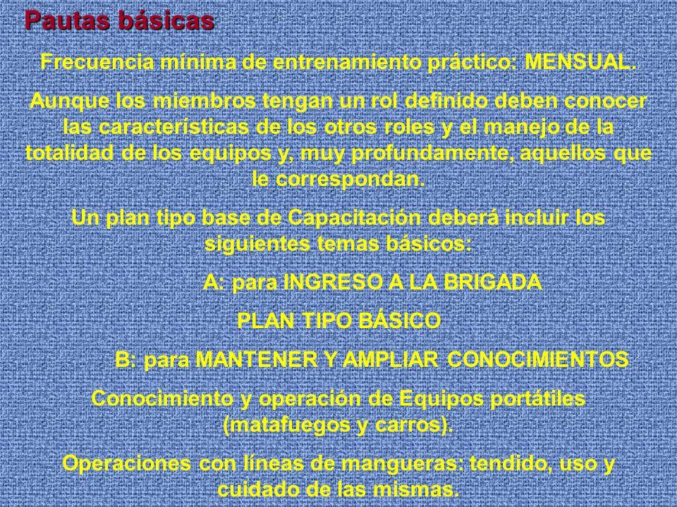 Secuencia de Formación de una Brigada Selección Plan de entrenamiento en función de los riesgos específicos: temas profundidad de enseñanza frecuencia