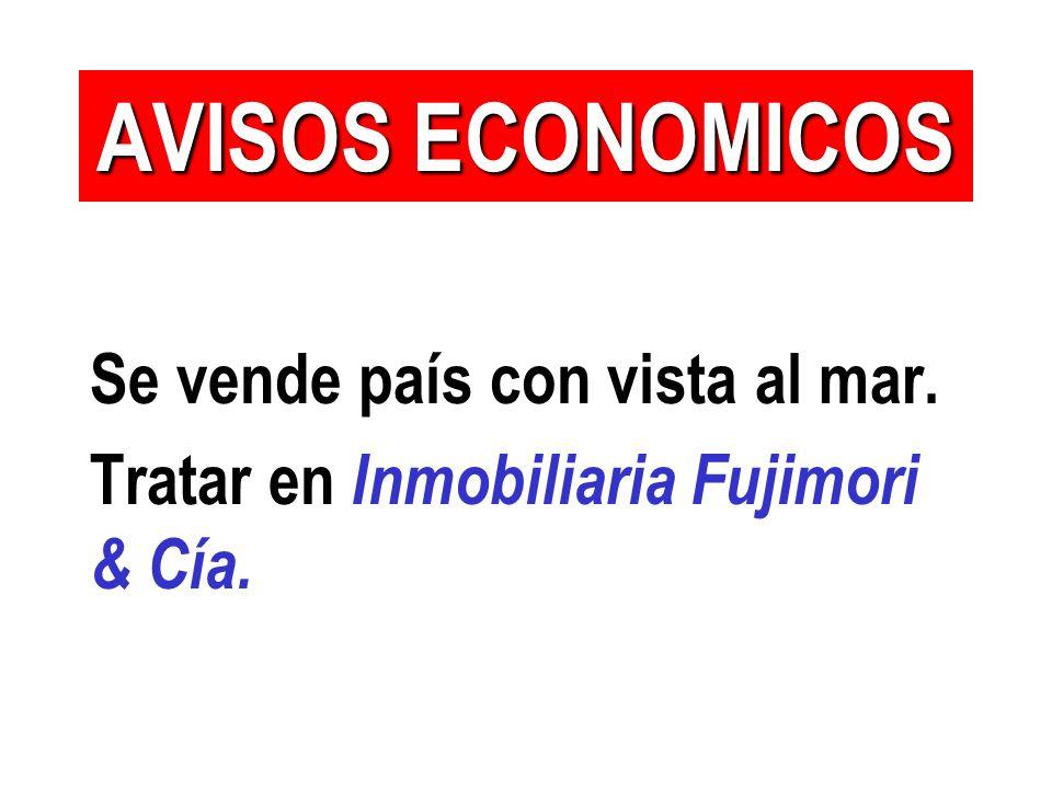 Se vende país con vista al mar. Tratar en Inmobiliaria Fujimori & Cía. AVISOS ECONOMICOS