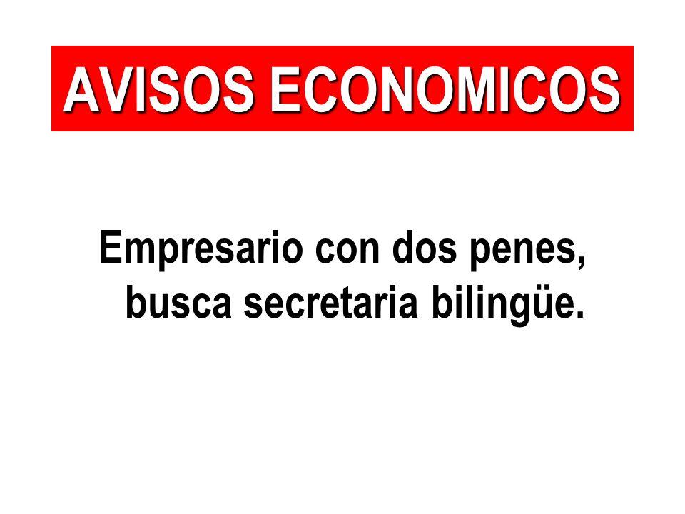 Empresario con dos penes, busca secretaria bilingüe. AVISOS ECONOMICOS