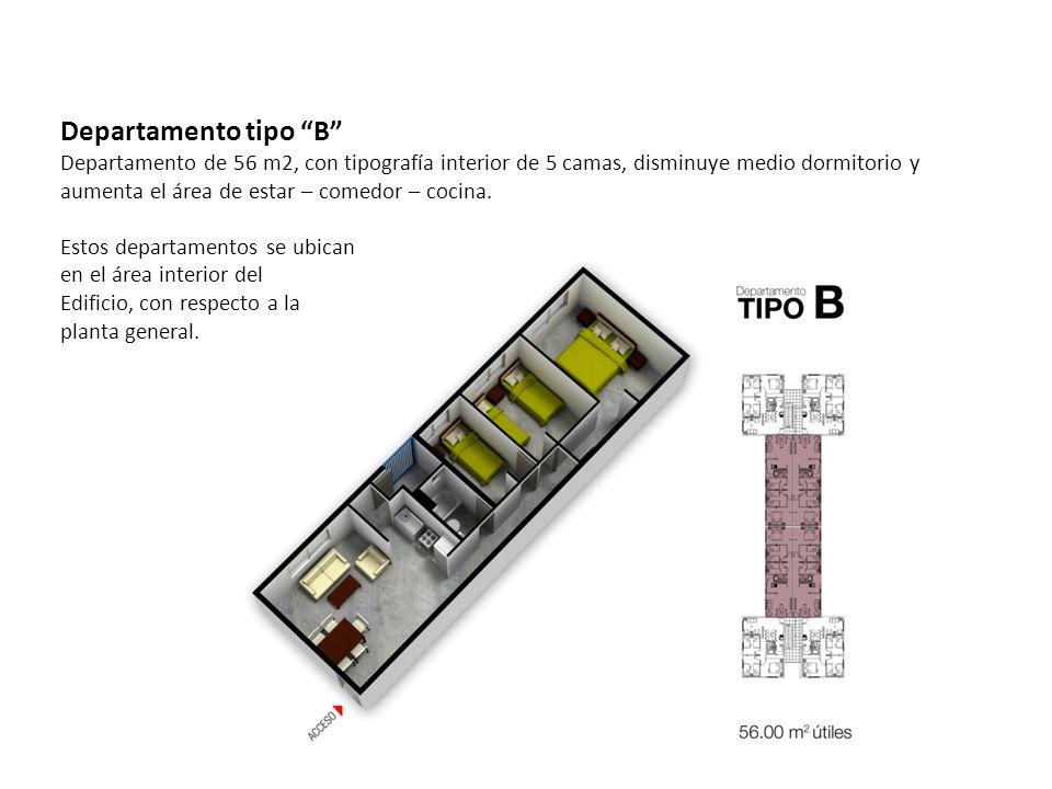 Departamento tipo B Departamento de 56 m2, con tipografía interior de 5 camas, disminuye medio dormitorio y aumenta el área de estar – comedor – cocin