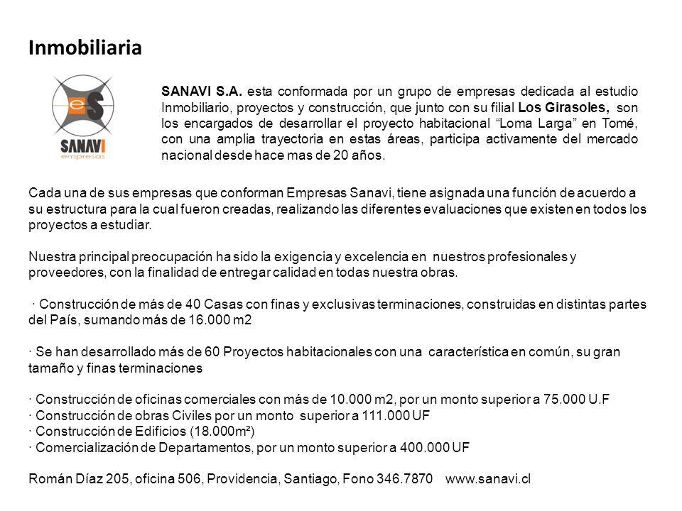 Inmobiliaria Cada una de sus empresas que conforman Empresas Sanavi, tiene asignada una función de acuerdo a su estructura para la cual fueron creadas