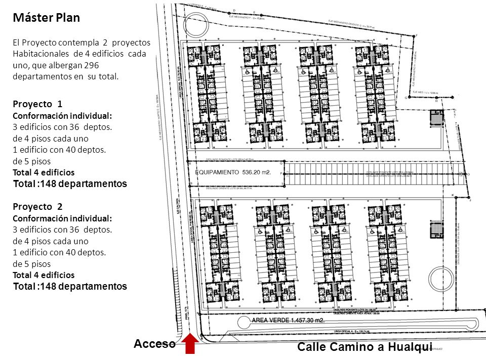 Máster Plan El Proyecto contempla 2 proyectos Habitacionales de 4 edificios cada uno, que albergan 296 departamentos en su total. Proyecto 1 Conformac