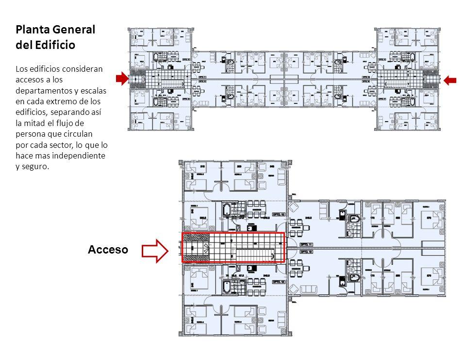 Planta General del Edificio Los edificios consideran accesos a los departamentos y escalas en cada extremo de los edificios, separando así la mitad el