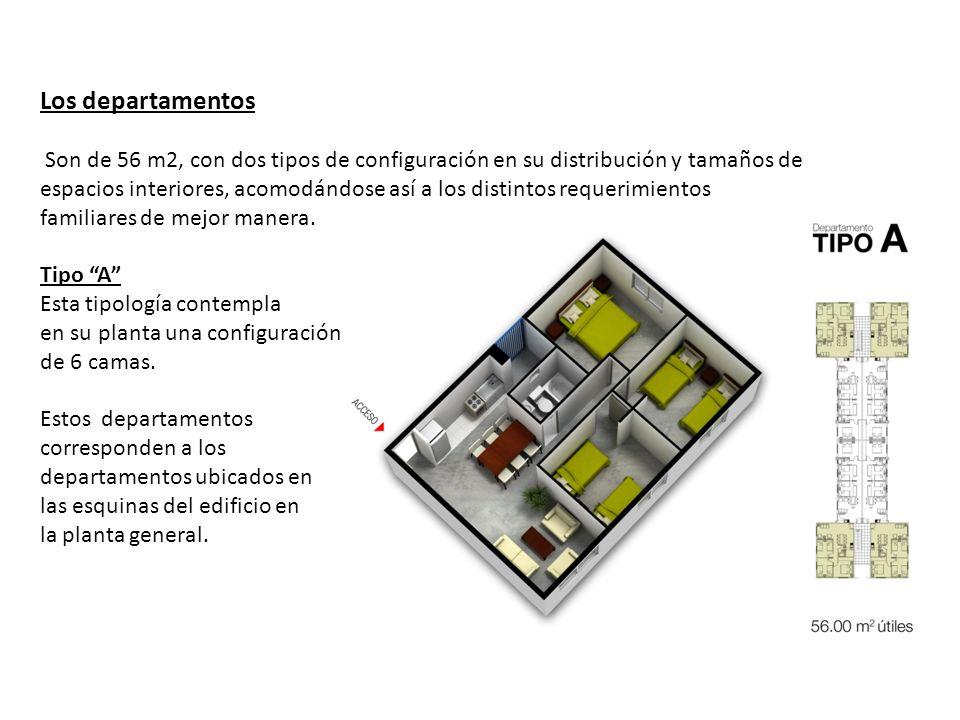 Los departamentos Son de 56 m2, con dos tipos de configuración en su distribución y tamaños de espacios interiores, acomodándose así a los distintos r