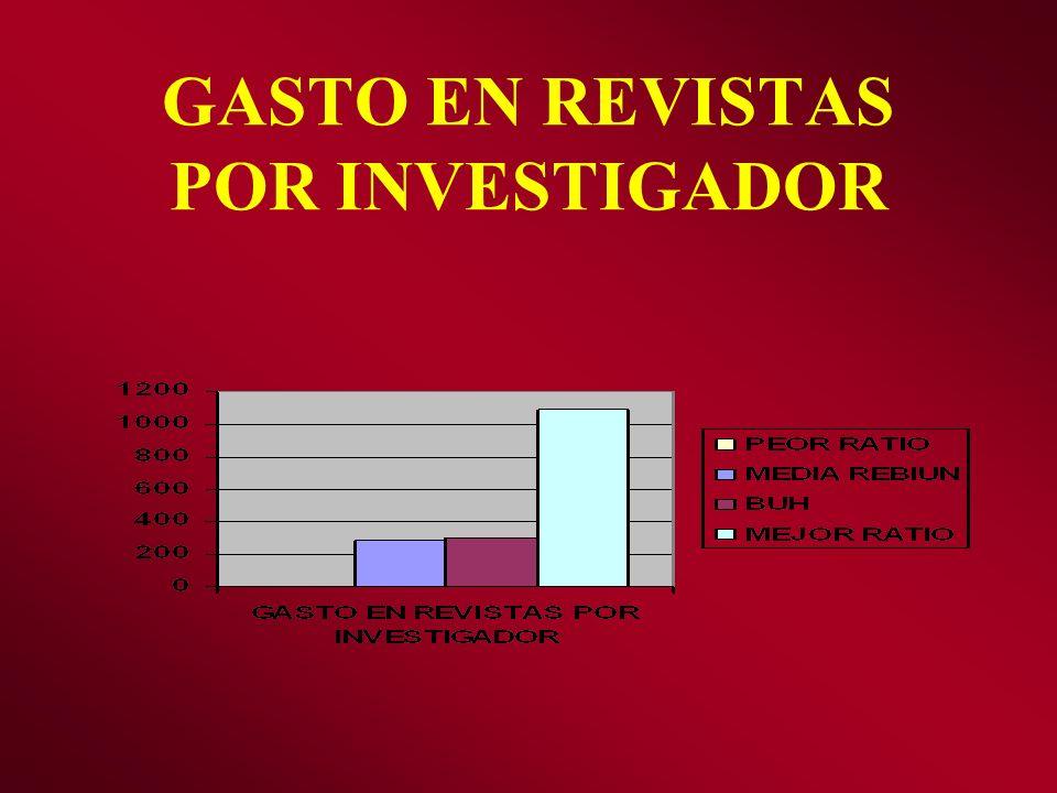GASTO EN REVISTAS POR INVESTIGADOR