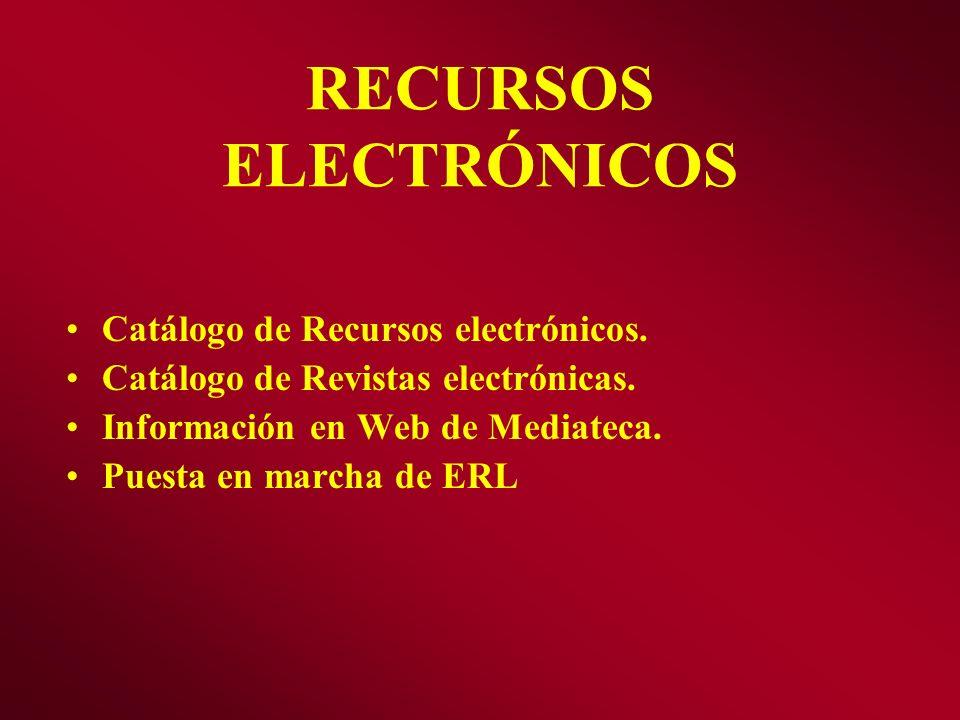RECURSOS ELECTRÓNICOS Catálogo de Recursos electrónicos. Catálogo de Revistas electrónicas. Información en Web de Mediateca. Puesta en marcha de ERL