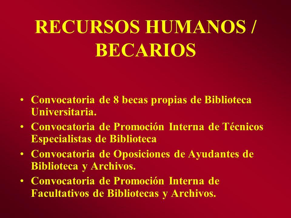 RECURSOS HUMANOS / BECARIOS Convocatoria de 8 becas propias de Biblioteca Universitaria. Convocatoria de Promoción Interna de Técnicos Especialistas d