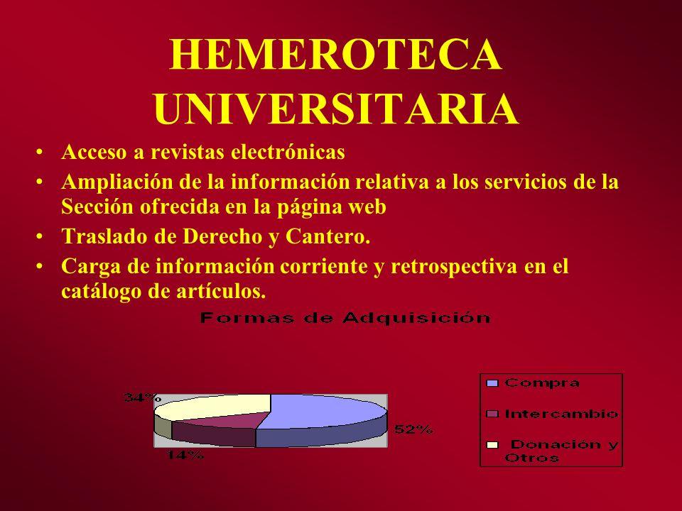 HEMEROTECA UNIVERSITARIA Acceso a revistas electrónicas Ampliación de la información relativa a los servicios de la Sección ofrecida en la página web