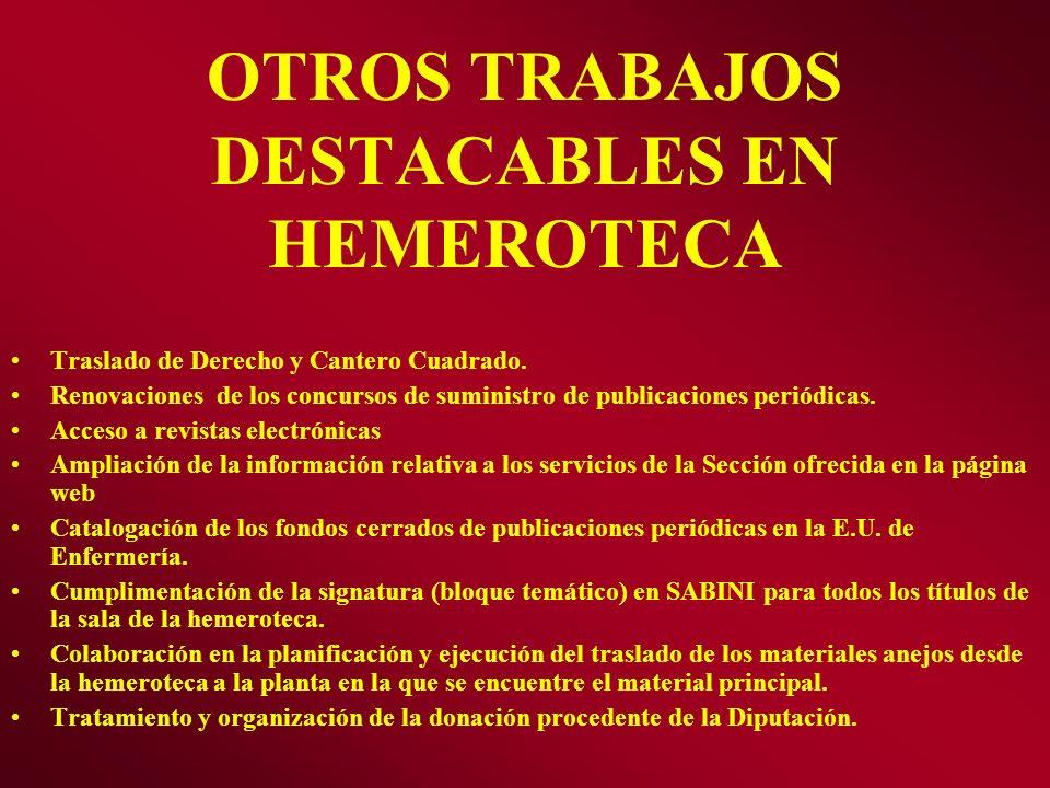 OTROS TRABAJOS DESTACABLES EN HEMEROTECA Traslado de Derecho y Cantero Cuadrado. Renovaciones de los concursos de suministro de publicaciones periódic