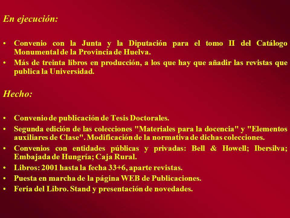 En ejecución: Convenio con la Junta y la Diputación para el tomo II del Catálogo Monumental de la Provincia de Huelva. Más de treinta libros en produc