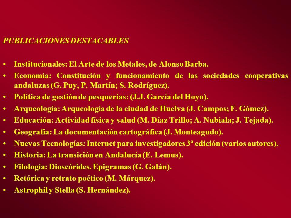 PUBLICACIONES DESTACABLES Institucionales: El Arte de los Metales, de Alonso Barba. Economía: Constitución y funcionamiento de las sociedades cooperat