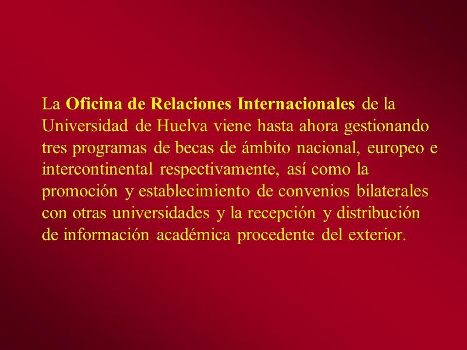La Oficina de Relaciones Internacionales de la Universidad de Huelva viene hasta ahora gestionando tres programas de becas de ámbito nacional, europeo