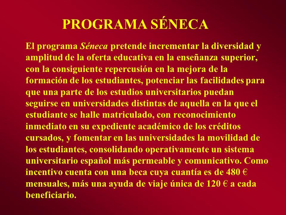 El programa Séneca pretende incrementar la diversidad y amplitud de la oferta educativa en la enseñanza superior, con la consiguiente repercusión en l