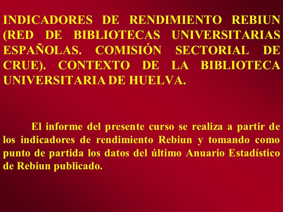 INDICADORES DE RENDIMIENTO REBIUN (RED DE BIBLIOTECAS UNIVERSITARIAS ESPAÑOLAS. COMISIÓN SECTORIAL DE CRUE). CONTEXTO DE LA BIBLIOTECA UNIVERSITARIA D