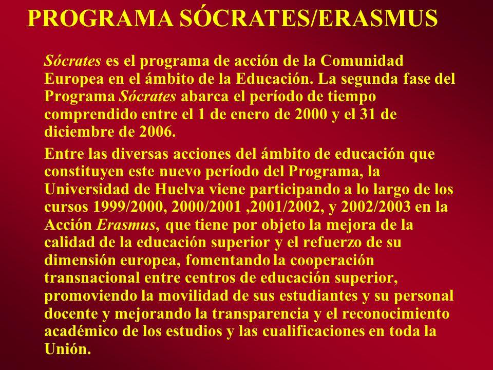 Sócrates es el programa de acción de la Comunidad Europea en el ámbito de la Educación. La segunda fase del Programa Sócrates abarca el período de tie