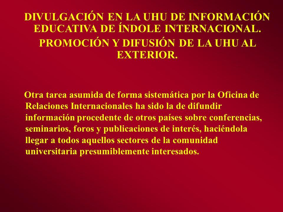 Otra tarea asumida de forma sistemática por la Oficina de Relaciones Internacionales ha sido la de difundir información procedente de otros países sob