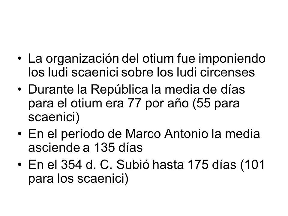 La organización del otium fue imponiendo los ludi scaenici sobre los ludi circenses Durante la República la media de días para el otium era 77 por año