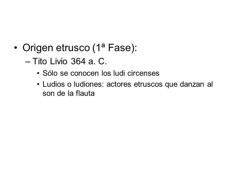 Origen etrusco (1ª Fase): –Tito Livio 364 a. C. Sólo se conocen los ludi circenses Ludios o ludiones: actores etruscos que danzan al son de la flauta