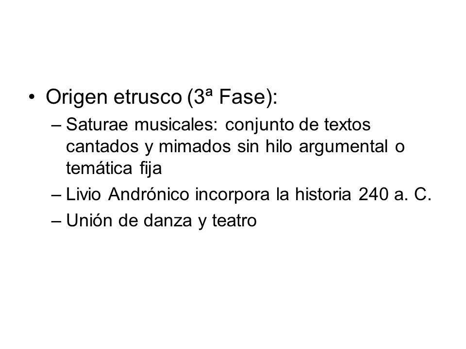 Origen etrusco (3ª Fase): –Saturae musicales: conjunto de textos cantados y mimados sin hilo argumental o temática fija –Livio Andrónico incorpora la