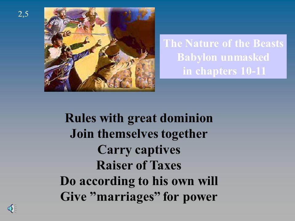 2,5 The Nature of the Beasts Babylon unmasked in chapters 10-11 Rules with great dominion Join themselves together Carry captives Raiser of Taxes Do according to his own will Give marriages for power